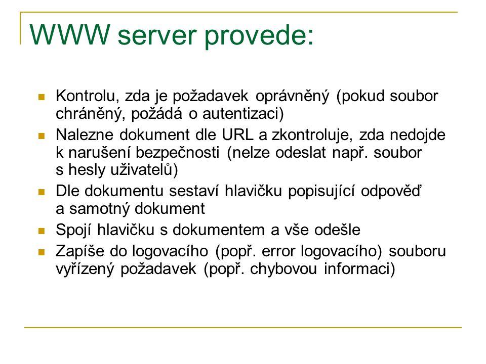 WWW server provede: Kontrolu, zda je požadavek oprávněný (pokud soubor chráněný, požádá o autentizaci) Nalezne dokument dle URL a zkontroluje, zda ned