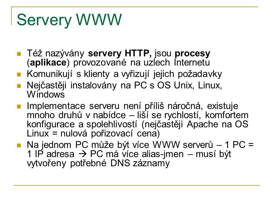 Servery WWW Též nazývány servery HTTP, jsou procesy (aplikace) provozované na uzlech Internetu Komunikují s klienty a vyřizují jejich požadavky Nejčas