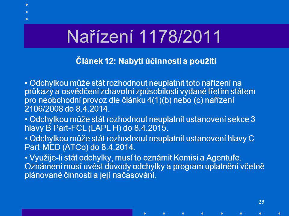 25 Nařízení 1178/2011 Článek 12: Nabytí účinnosti a použití Odchylkou může stát rozhodnout neuplatnit toto nařízení na průkazy a osvědčení zdravotní způsobilosti vydané třetím státem pro neobchodní provoz dle článku 4(1)(b) nebo (c) nařízení 2106/2008 do 8.4.2014.