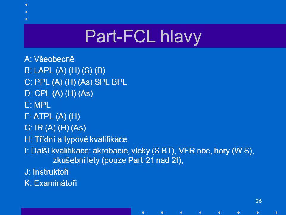26 Part-FCL hlavy A: Všeobecně B: LAPL (A) (H) (S) (B) C: PPL (A) (H) (As) SPL BPL D: CPL (A) (H) (As) E: MPL F: ATPL (A) (H) G: IR (A) (H) (As) H: Třídní a typové kvalifikace I: Další kvalifikace: akrobacie, vleky (S BT), VFR noc, hory (W S), zkušební lety (pouze Part-21 nad 2t), J: Instruktoři K: Examinátoři