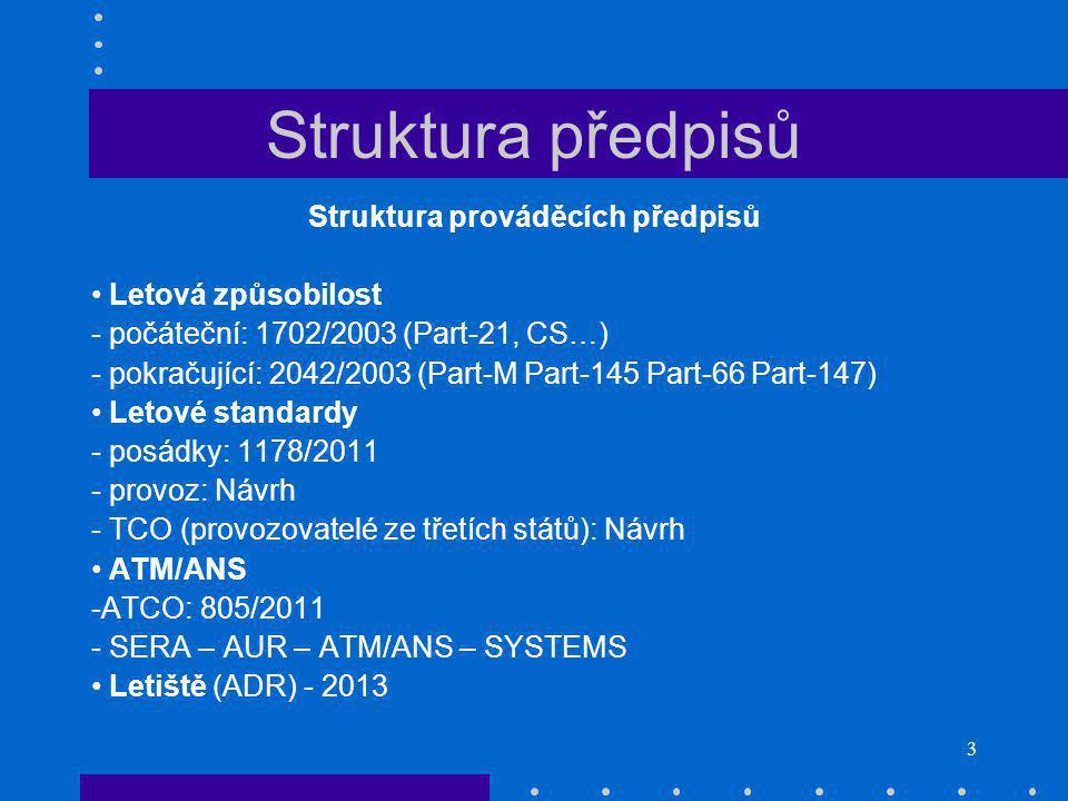 3 Struktura předpisů Struktura prováděcích předpisů Letová způsobilost - počáteční: 1702/2003 (Part-21, CS…) - pokračující: 2042/2003 (Part-M Part-145 Part-66 Part-147) Letové standardy - posádky: 1178/2011 - provoz: Návrh - TCO (provozovatelé ze třetích států): Návrh ATM/ANS -ATCO: 805/2011 - SERA – AUR – ATM/ANS – SYSTEMS Letiště (ADR) - 2013