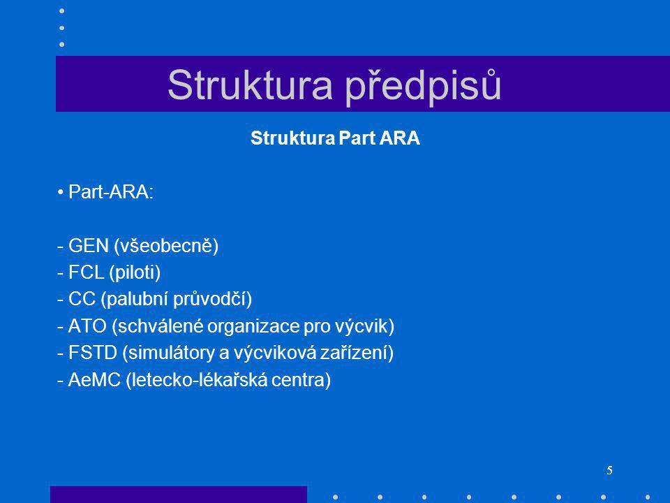 5 Struktura předpisů Struktura Part ARA Part-ARA: - GEN (všeobecně) - FCL (piloti) - CC (palubní průvodčí) - ATO (schválené organizace pro výcvik) - FSTD (simulátory a výcviková zařízení) - AeMC (letecko-lékařská centra)