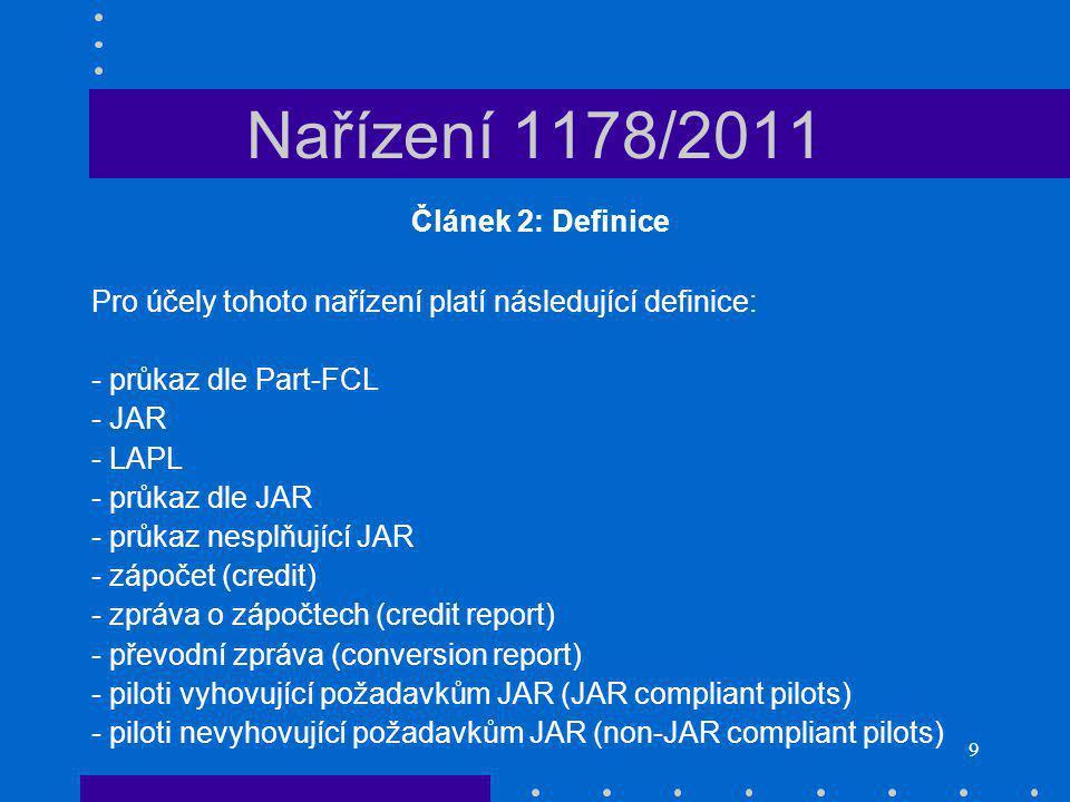 9 Nařízení 1178/2011 Článek 2: Definice Pro účely tohoto nařízení platí následující definice: - průkaz dle Part-FCL - JAR - LAPL - průkaz dle JAR - průkaz nesplňující JAR - zápočet (credit) - zpráva o zápočtech (credit report) - převodní zpráva (conversion report) - piloti vyhovující požadavkům JAR (JAR compliant pilots) - piloti nevyhovující požadavkům JAR (non-JAR compliant pilots)