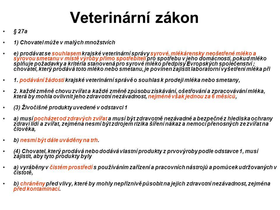 Veterinární zákon § 27a 1) Chovatel může v malých množstvích e) prodávat se souhlasem krajské veterinární správy syrové, mlékárensky neošetřené mléko
