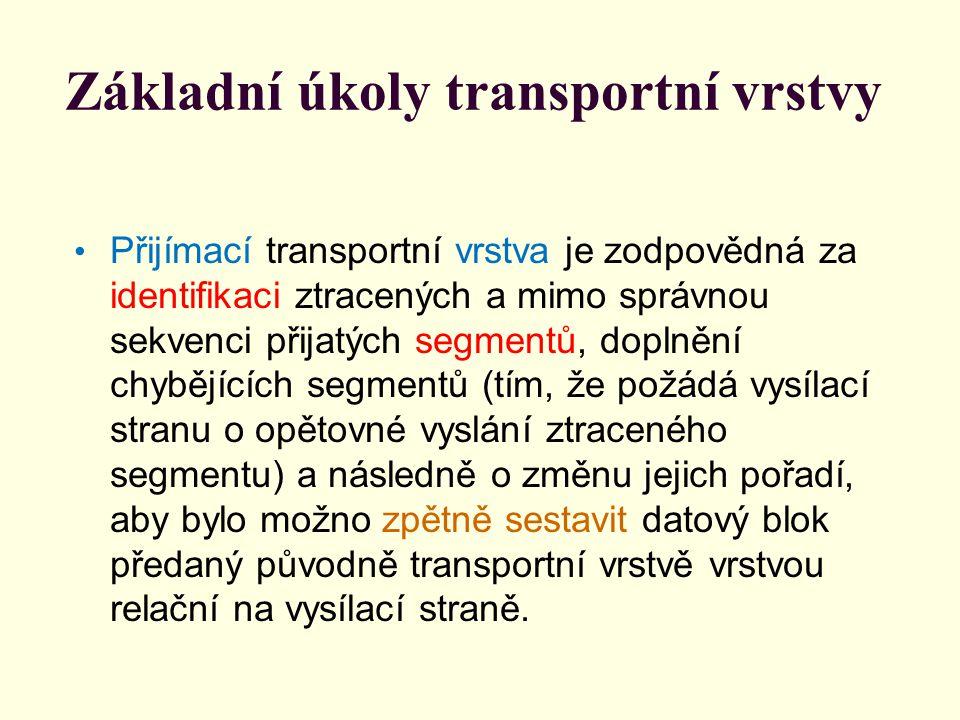 Základní úkoly transportní vrstvy I když cílem transportní vrstvy je bezchybný přenos bloků dat, nemusí to být vždy optimální z hlediska časové prodlevy, kterou nutně tato transportní vrstva vnáší do přenosu.