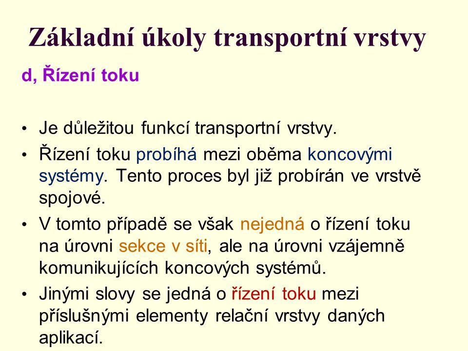 Základní úkoly transportní vrstvy d, Řízení toku Je důležitou funkcí transportní vrstvy.