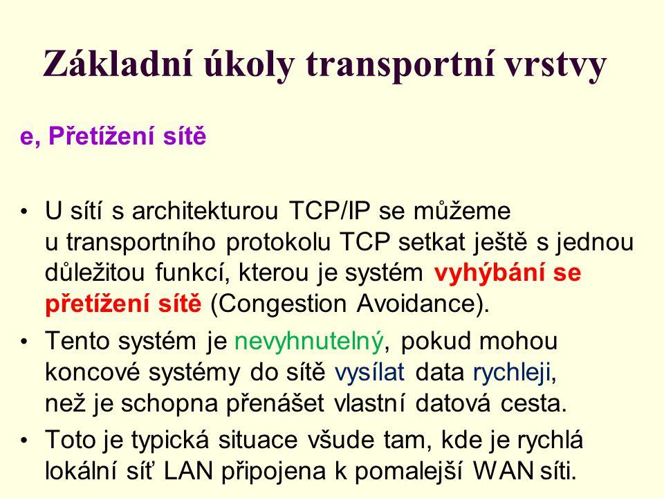 Základní úkoly transportní vrstvy e, Přetížení sítě U sítí s architekturou TCP/IP se můžeme u transportního protokolu TCP setkat ještě s jednou důležitou funkcí, kterou je systém vyhýbání se přetížení sítě (Congestion Avoidance).