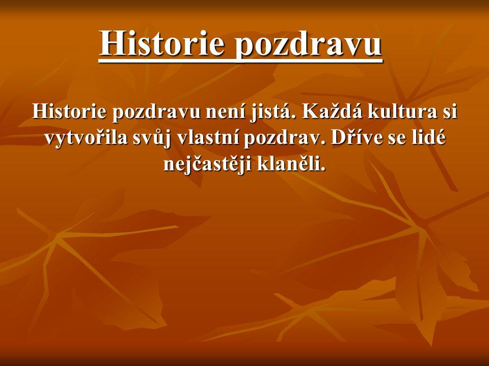Historie pozdravu Historie pozdravu není jistá. Každá kultura si vytvořila svůj vlastní pozdrav. Dříve se lidé nejčastěji klaněli.
