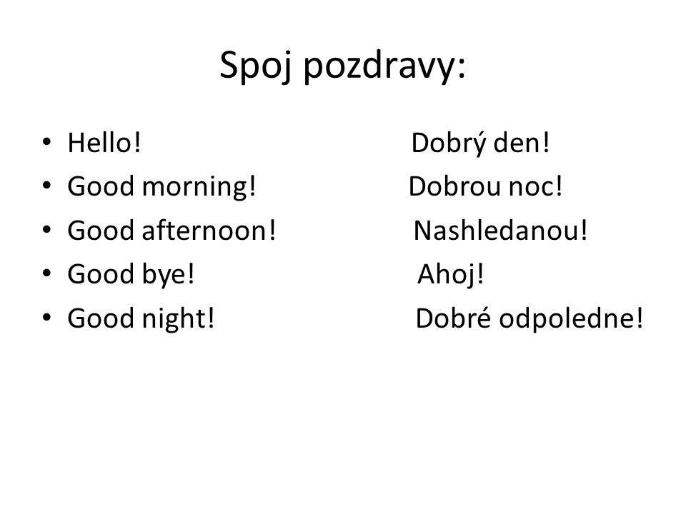 Spoj pozdravy: Hello! Dobrý den! Good morning! Dobrou noc! Good afternoon! Nashledanou! Good bye! Ahoj! Good night! Dobré odpoledne!