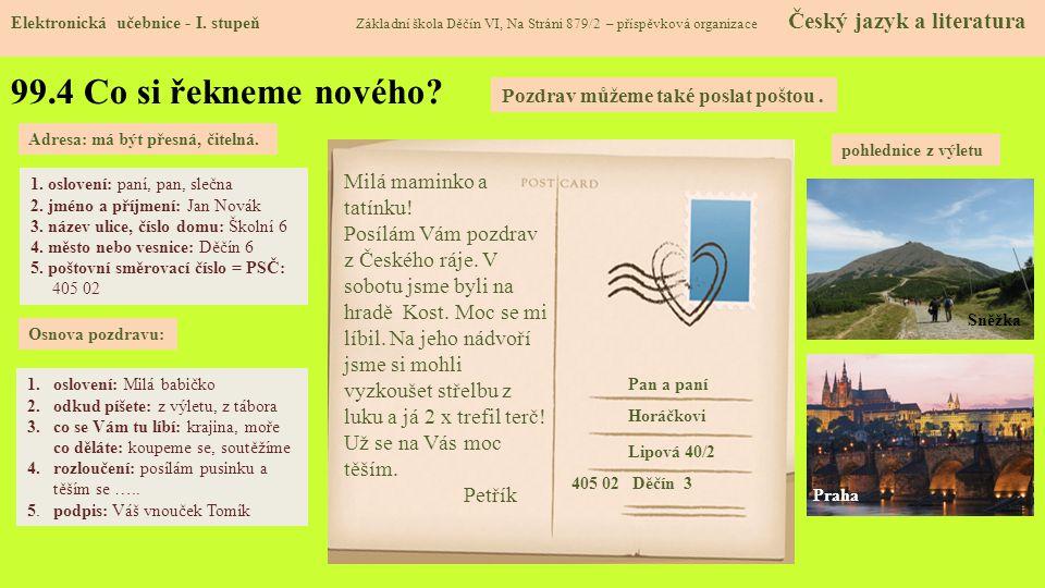 99.5 Procvičení a příklady Elektronická učebnice - I.