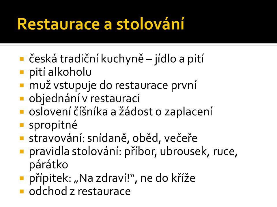  česká tradiční kuchyně – jídlo a pití  pití alkoholu  muž vstupuje do restaurace první  objednání v restauraci  oslovení číšníka a žádost o zapl
