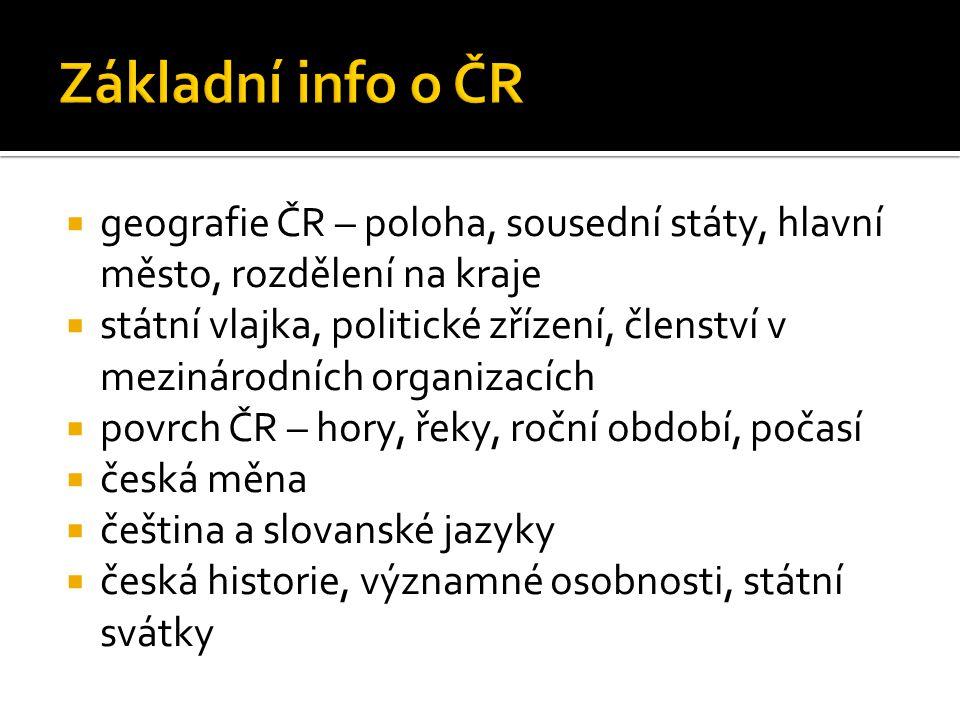  geografie ČR – poloha, sousední státy, hlavní město, rozdělení na kraje  státní vlajka, politické zřízení, členství v mezinárodních organizacích 
