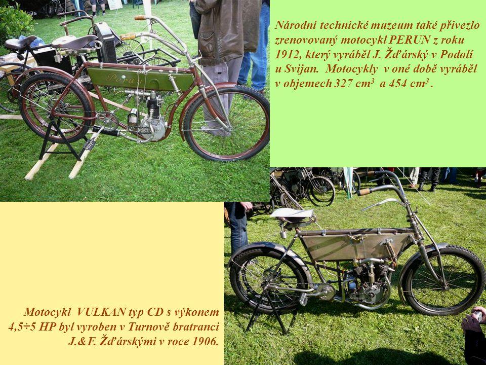 Národní technické muzeum také přivezlo zrenovovaný motocykl PERUN z roku 1912, který vyráběl J. Žďárský v Podolí u Svijan. Motocykly v oné době vyrábě