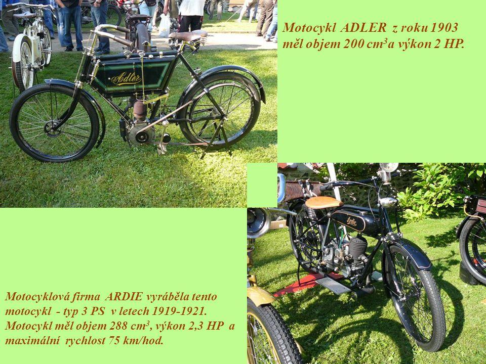 Motocyklová firma ARDIE vyráběla tento motocykl - typ 3 PS v letech 1919-1921. Motocykl měl objem 288 cm 3, výkon 2,3 HP a maximální rychlost 75 km/ho