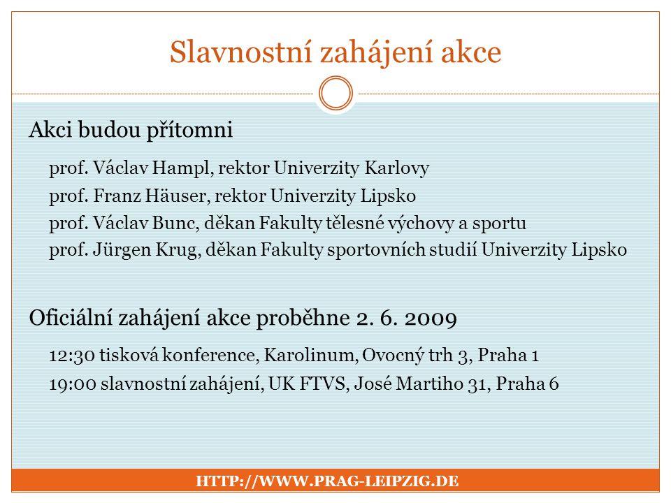 Slavnostní zahájení akce Akci budou přítomni prof. Václav Hampl, rektor Univerzity Karlovy prof. Franz Häuser, rektor Univerzity Lipsko prof. Václav B
