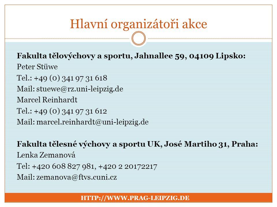 Hlavní organizátoři akce Fakulta tělovýchovy a sportu, Jahnallee 59, 04109 Lipsko: Peter Stüwe Tel.: +49 (0) 341 97 31 618 Mail: stuewe@rz.uni-leipzig