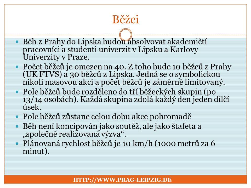 Běžci Běh z Prahy do Lipska budou absolvovat akademičtí pracovníci a studenti univerzit v Lipsku a Karlovy Univerzity v Praze. Počet běžců je omezen n