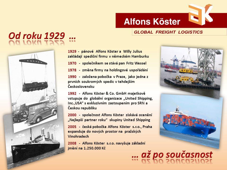 1929 1929 - pánové Alfons Köster a Willy Julius zakládají spediční firmu v německém Hamburku 1970 1970 - společníkem se stává pan Fritz Wessel 1978 1978 - změna firmy na holdingové uspořádání 1990 1990 - založena pobočka v Praze, jako jedna z prvních soukromých spedic v tehdejším Československu 1992 1992 - Alfons Köster & Co.