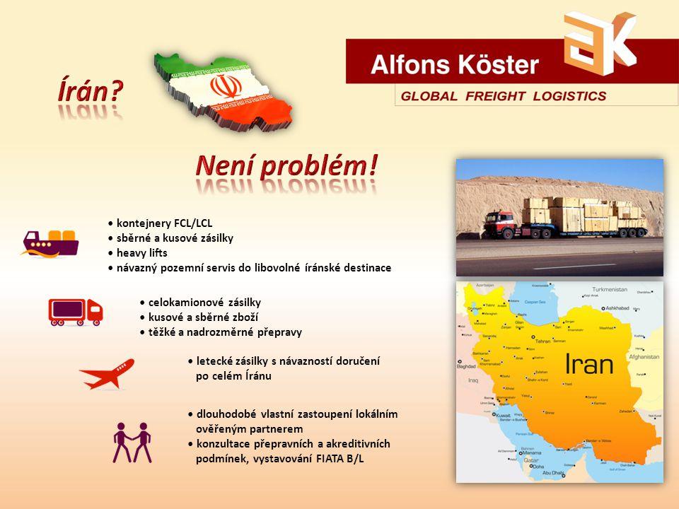 kontejnery FCL/LCL sběrné a kusové zásilky heavy lifts návazný pozemní servis do libovolné íránské destinace celokamionové zásilky kusové a sběrné zboží těžké a nadrozměrné přepravy letecké zásilky s návazností doručení po celém Íránu dlouhodobé vlastní zastoupení lokálním ověřeným partnerem konzultace přepravních a akreditivních podmínek, vystavování FIATA B/L