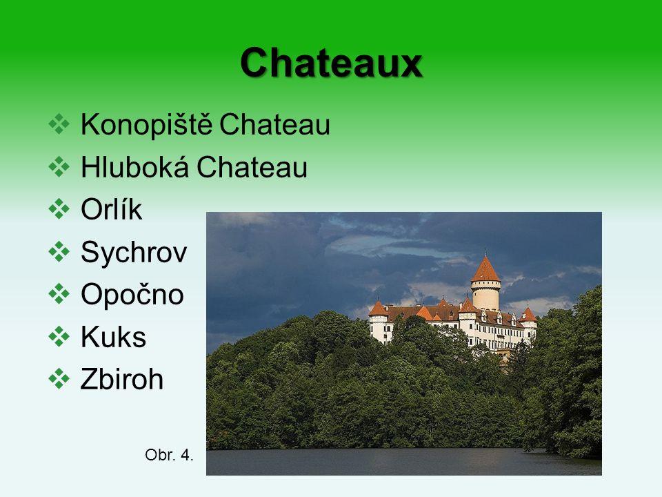 Chateaux  Konopiště Chateau  Hluboká Chateau  Orlík  Sychrov  Opočno  Kuks  Zbiroh Obr. 4.