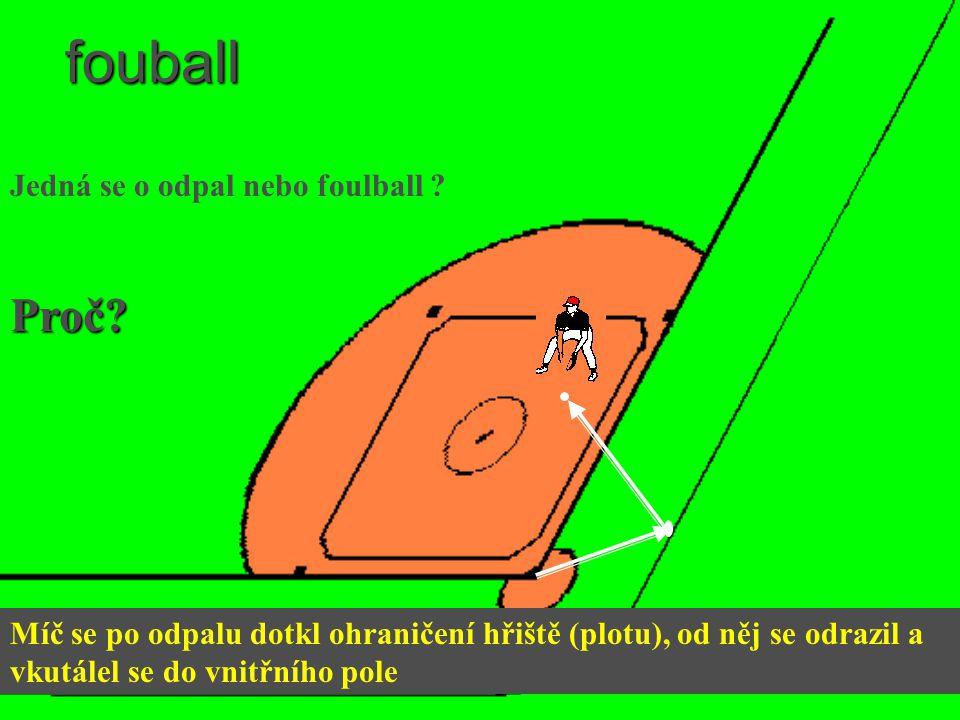 fouball Míč se po odpalu dotkl ohraničení hřiště (plotu), od něj se odrazil a vkutálel se do vnitřního pole Jedná se o odpal nebo foulball ? Proč?