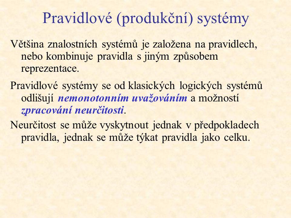 Pravidlové (produkční) systémy Většina znalostních systémů je založena na pravidlech, nebo kombinuje pravidla s jiným způsobem reprezentace. Pravidlov