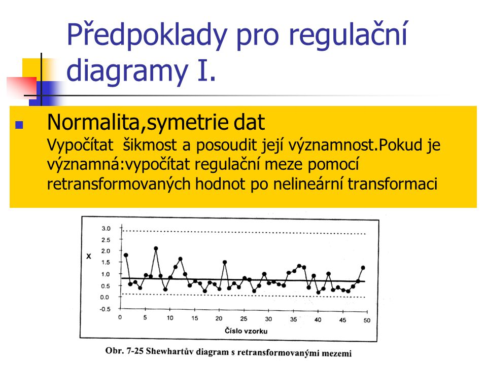 Předpoklady pro regulační diagramy I. Normalita,symetrie dat Vypočítat šikmost a posoudit její významnost.Pokud je významná:vypočítat regulační meze p