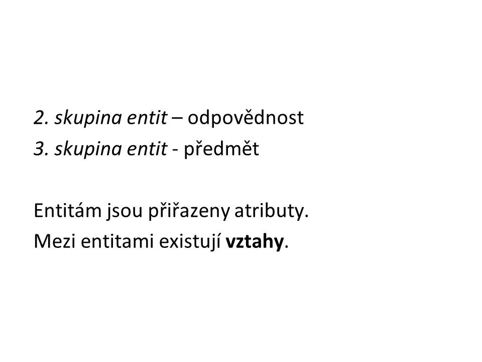 2.skupina entit – odpovědnost 3. skupina entit - předmět Entitám jsou přiřazeny atributy.
