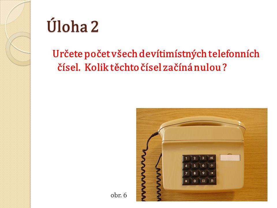 Úloha 2 Určete počet všech devítimístných telefonních čísel. Kolik těchto čísel začíná nulou ? obr. 6