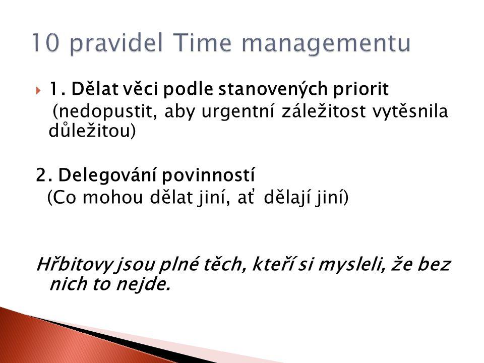  1. Dělat věci podle stanovených priorit (nedopustit, aby urgentní záležitost vytěsnila důležitou) 2. Delegování povinností (Co mohou dělat jiní, ať
