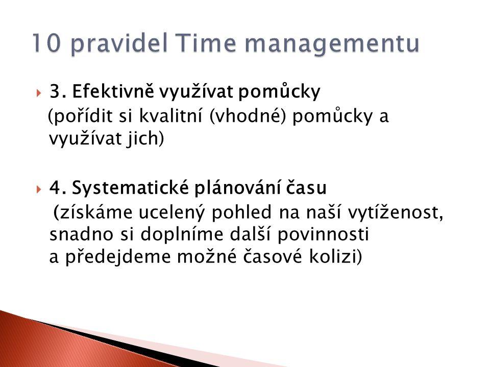  3. Efektivně využívat pomůcky (pořídit si kvalitní (vhodné) pomůcky a využívat jich)  4. Systematické plánování času (získáme ucelený pohled na naš