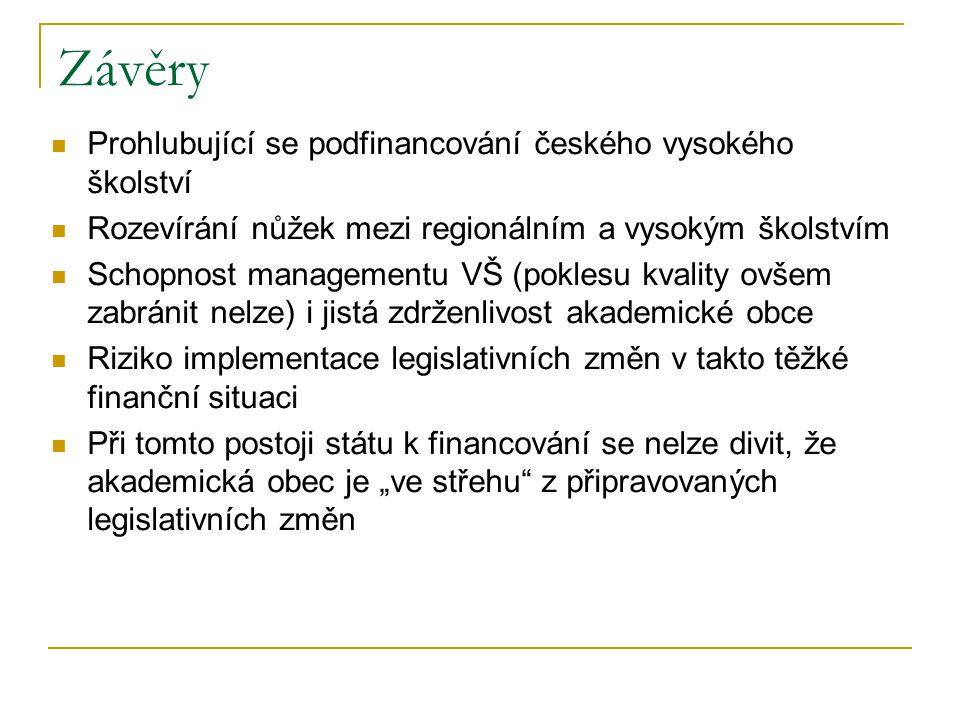"""Závěry Prohlubující se podfinancování českého vysokého školství Rozevírání nůžek mezi regionálním a vysokým školstvím Schopnost managementu VŠ (poklesu kvality ovšem zabránit nelze) i jistá zdrženlivost akademické obce Riziko implementace legislativních změn v takto těžké finanční situaci Při tomto postoji státu k financování se nelze divit, že akademická obec je """"ve střehu z připravovaných legislativních změn"""