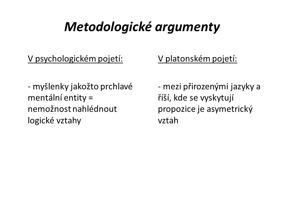 Metodologické argumenty V psychologickém pojetí: - myšlenky jakožto prchlavé mentální entity = nemožnost nahlédnout logické vztahy V platonském pojetí: - mezi přirozenými jazyky a říší, kde se vyskytují propozice je asymetrický vztah