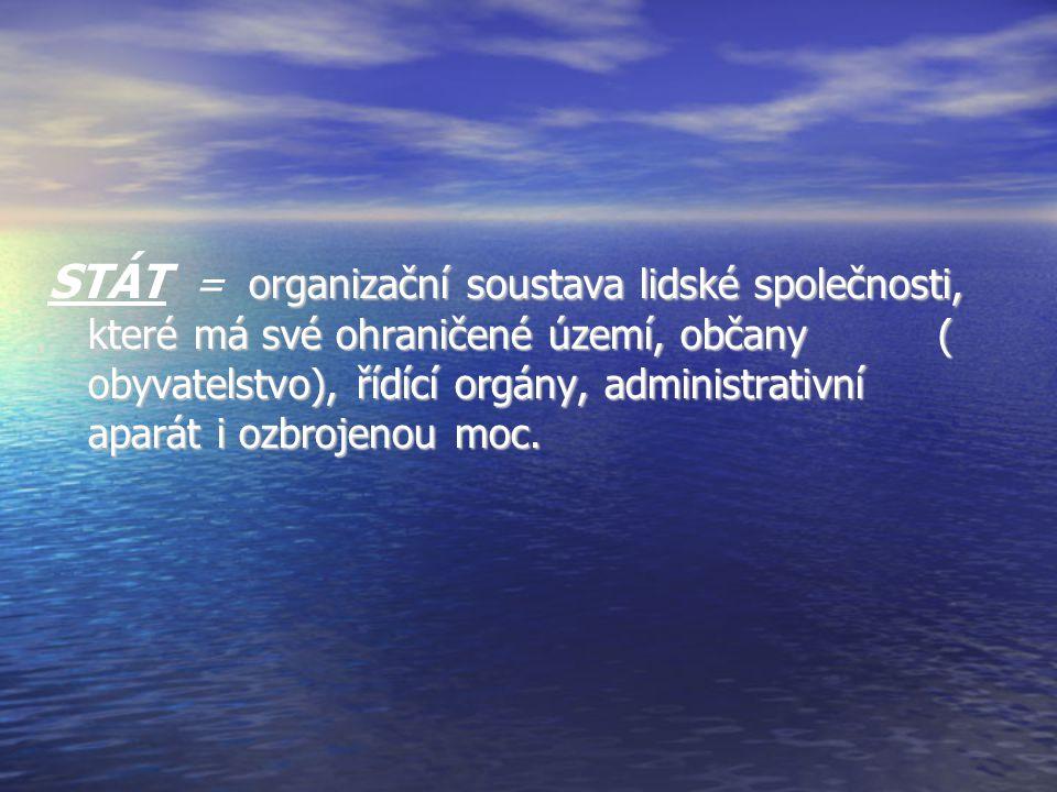 organizační soustava lidské společnosti, které má své ohraničené území, občany ( obyvatelstvo), řídící orgány, administrativní aparát i ozbrojenou moc.
