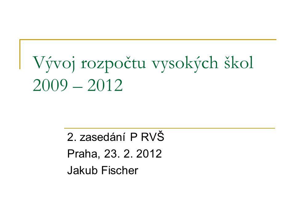Vývoj rozpočtu vysokých škol 2009 – 2012 2. zasedání P RVŠ Praha, 23. 2. 2012 Jakub Fischer