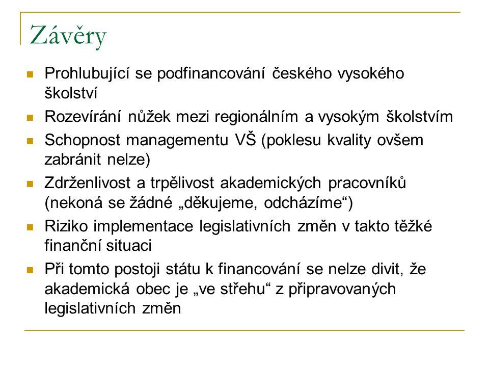 """Závěry Prohlubující se podfinancování českého vysokého školství Rozevírání nůžek mezi regionálním a vysokým školstvím Schopnost managementu VŠ (poklesu kvality ovšem zabránit nelze) Zdrženlivost a trpělivost akademických pracovníků (nekoná se žádné """"děkujeme, odcházíme ) Riziko implementace legislativních změn v takto těžké finanční situaci Při tomto postoji státu k financování se nelze divit, že akademická obec je """"ve střehu z připravovaných legislativních změn"""
