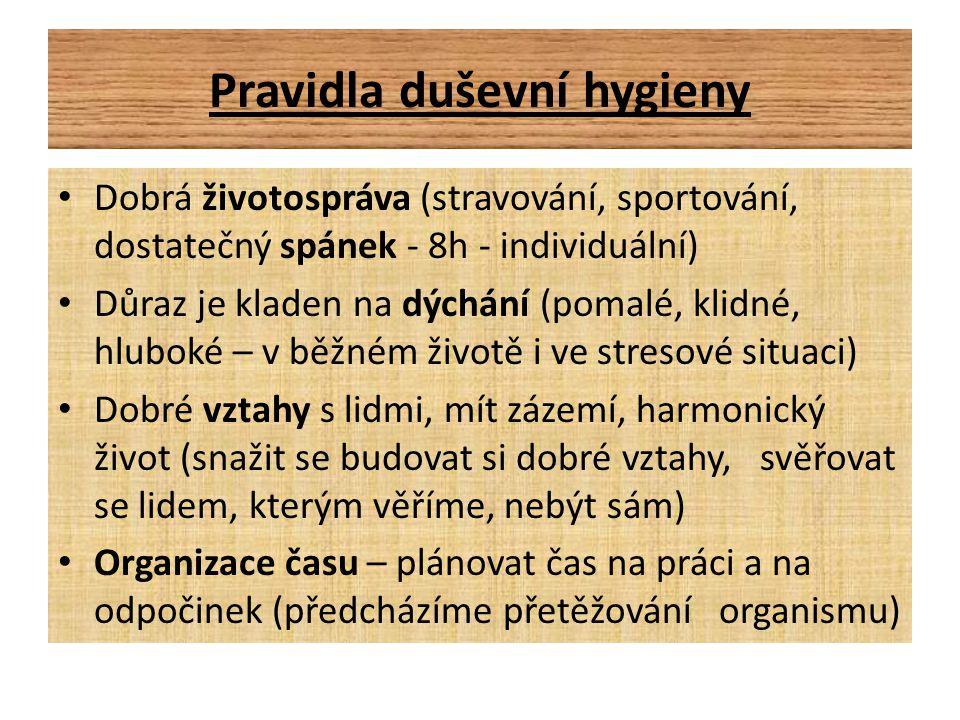 Pravidla duševní hygieny Dobrá životospráva (stravování, sportování, dostatečný spánek - 8h - individuální) Důraz je kladen na dýchání (pomalé, klidné