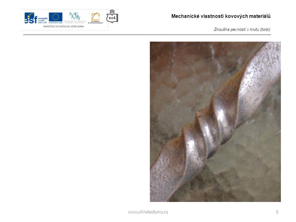 www.zlinskedumy.cz Zkouška pevnosti v krutu (torzi) Provádí se: 3/ u oceli za tepla - zkouška vypovídá o kujnosti dané oceli - v tomto případě se jedn
