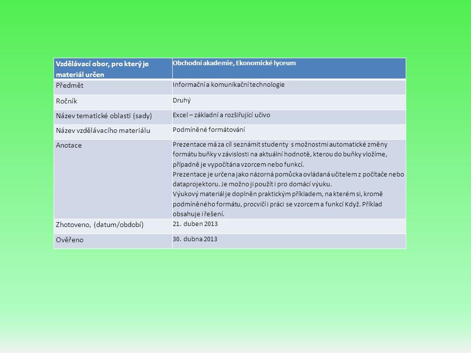 Úvod Potřebujeme-li v listu sešitu pružně měnit vzhled buňky v závislosti na splnění námi zadaného pravidla (podmínky), použijeme funkci Excelu podmíněné formátování.