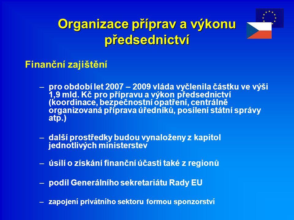Organizace příprav a výkonu předsednictví Finanční zajištění –pro období let 2007 – 2009 vláda vyčlenila částku ve výši 1,9 mld. Kč pro přípravu a výk