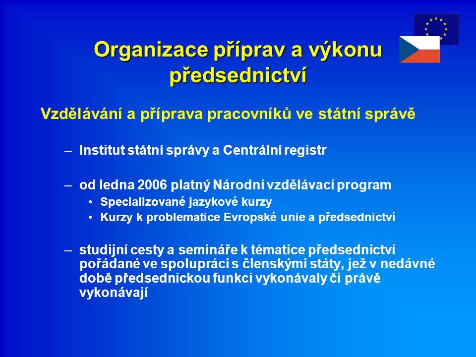 Organizace příprav a výkonu předsednictví Vzdělávání a příprava pracovníků ve státní správě –Institut státní správy a Centrální registr –od ledna 2006