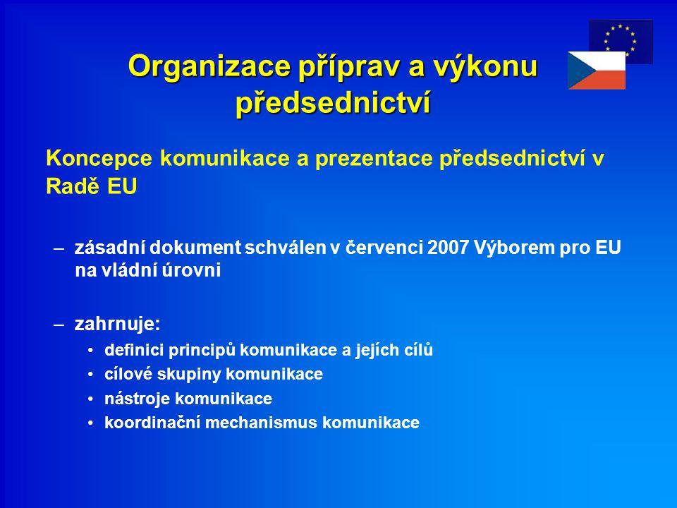 Organizace příprav a výkonu předsednictví Koncepce komunikace a prezentace předsednictví v Radě EU –zásadní dokument schválen v červenci 2007 Výborem pro EU na vládní úrovni –zahrnuje: definici principů komunikace a jejích cílů cílové skupiny komunikace nástroje komunikace koordinační mechanismus komunikace
