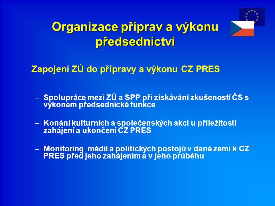 Organizace příprav a výkonu předsednictví Zapojení ZÚ do přípravy a výkonu CZ PRES –Spolupráce mezi ZÚ a SPP při získávání zkušeností ČS s výkonem pře