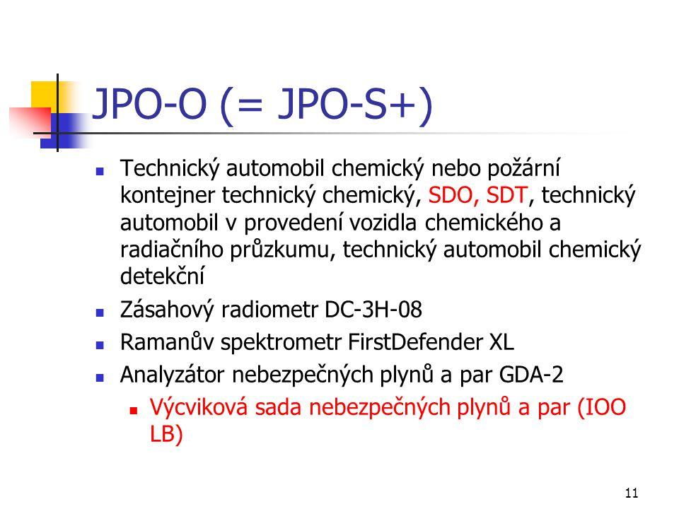 11 JPO-O (= JPO-S+) Technický automobil chemický nebo požární kontejner technický chemický, SDO, SDT, technický automobil v provedení vozidla chemické