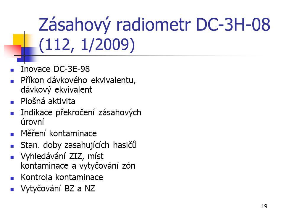 19 Zásahový radiometr DC-3H-08 (112, 1/2009) Inovace DC-3E-98 Příkon dávkového ekvivalentu, dávkový ekvivalent Plošná aktivita Indikace překročení zás