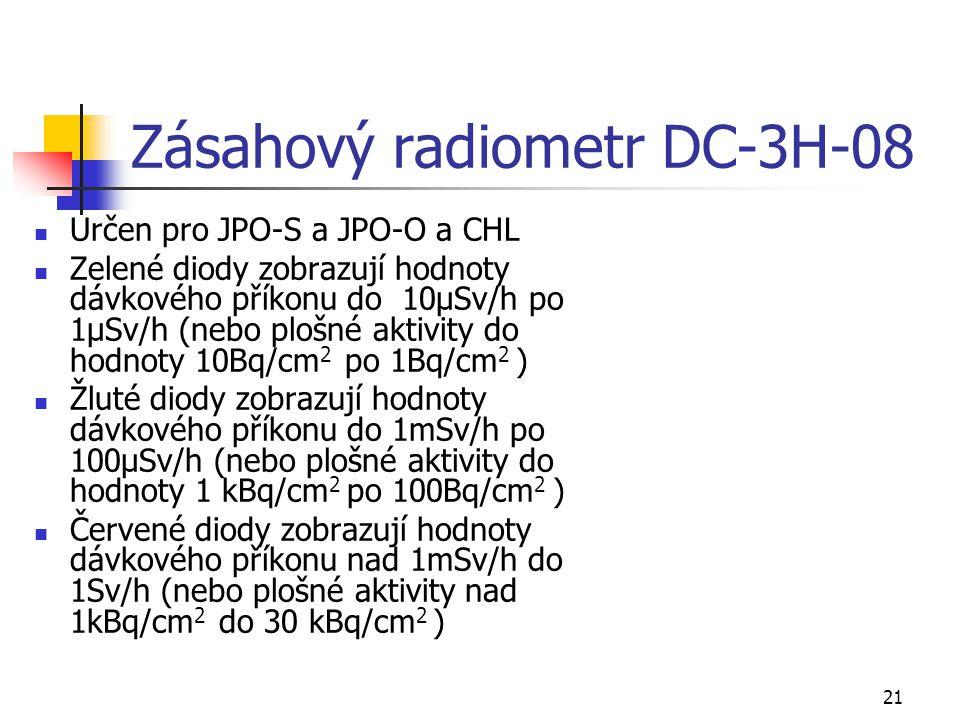21 Zásahový radiometr DC-3H-08 Určen pro JPO-S a JPO-O a CHL Zelené diody zobrazují hodnoty dávkového příkonu do 10μSv/h po 1μSv/h (nebo plošné aktivi