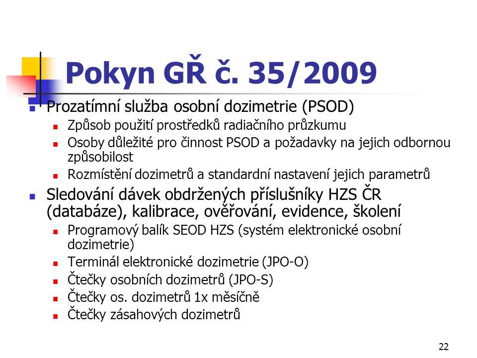 22 Pokyn GŘ č. 35/2009 Prozatímní služba osobní dozimetrie (PSOD) Způsob použití prostředků radiačního průzkumu Osoby důležité pro činnost PSOD a poža