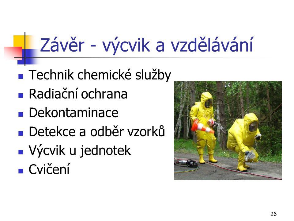 26 Závěr - výcvik a vzdělávání Technik chemické služby Radiační ochrana Dekontaminace Detekce a odběr vzorků Výcvik u jednotek Cvičení