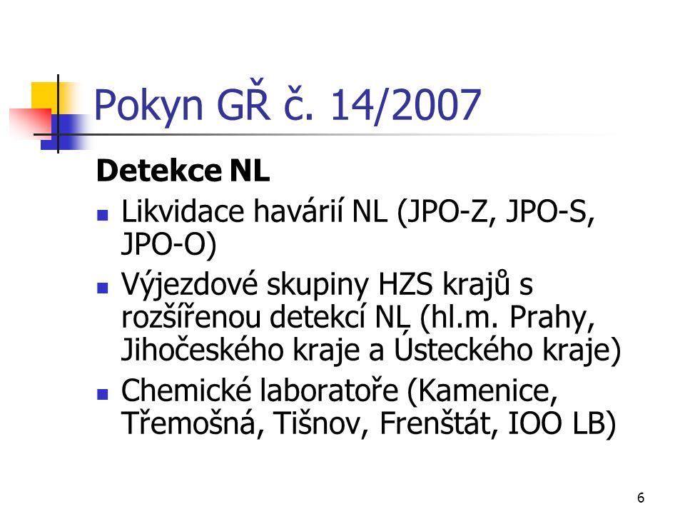 6 Pokyn GŘ č. 14/2007 Detekce NL Likvidace havárií NL (JPO-Z, JPO-S, JPO-O) Výjezdové skupiny HZS krajů s rozšířenou detekcí NL (hl.m. Prahy, Jihočesk