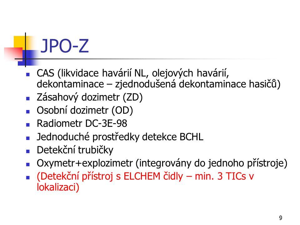 10 JPO-S (= JPO-Z+) Protiplynový automobil (Zásahový radiometr DC-3H-08) Nahradí DC-3E-98 Kombinované detekční přístroje (explozimetr+toximetr s 4 ELCHEM čidly) PID, např.